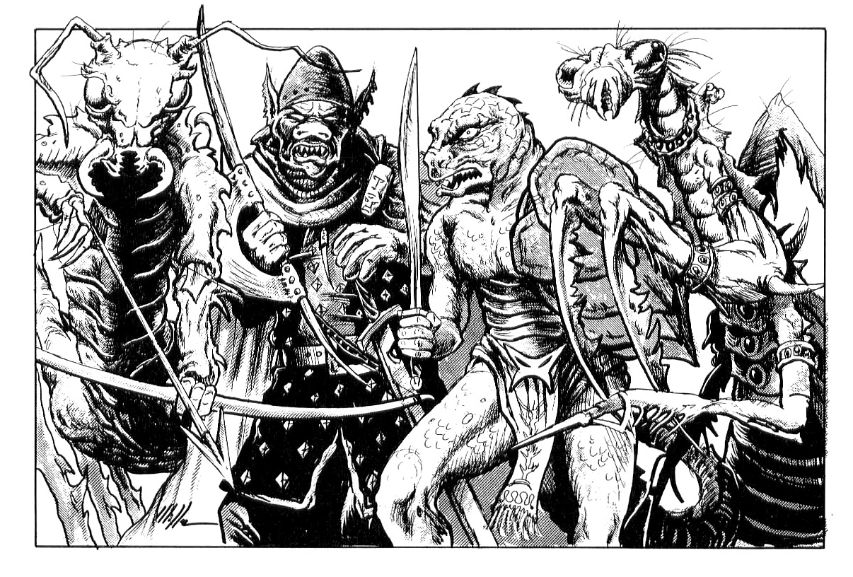 orc scro lizardman spelljammer Orco Scro, lucertoloide, rastipede e xixchil - by David O'Miller TSR - The Complete Spacefarer's Handbook (1992-10) © Wizards of the Coast & Hasbro
