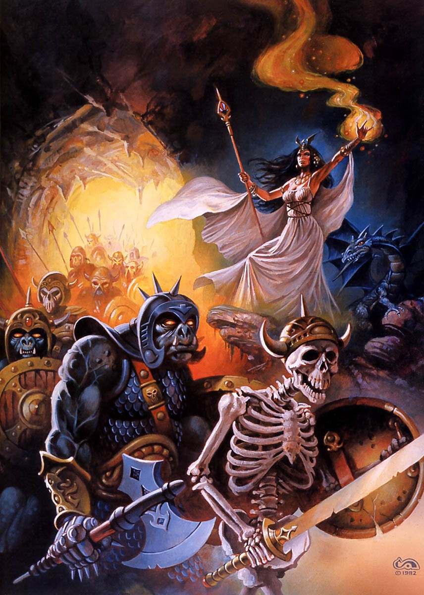 orcs skeletons Takhisis (Tiamat) e il suo esercito di orchi e scheletri - by Clyde Caldwell Dragon Magazine #69 (1983-01) © Wizards of the Coast & Hasbro