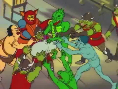 "orc troglodyte animated cartone Serie tv, orchi bugbear ogre troll e trogloditi. Serie TV: Dungeons & Dragons, ""The Hall of Bones"" (1983/1985) © Marvel Productions, TSR, Wizards of the Coast & Hasbro"