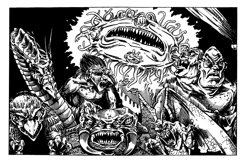 "owl bear ""Foto di gruppo"", orso gufo ettin gargoyle troll umber hulk behir e phaerimm TSR - Ruins of Myth Drannor (1993-02) © Wizards of the Coast & Hasbro"