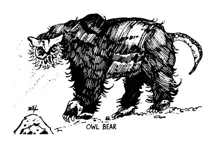 owl bear od&d Primissima comparsa dell'orso gufo - by Greg Bell TSR - D&D Supplement, Greyhawk (1975) © Wizards of the Coast & Hasbro