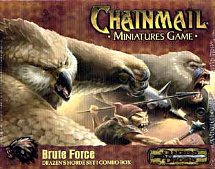owl bear war ape Orso gufo, soldato goblin e scimmia da guerra, illustrazione per blister di miniature Chainmail Miniatures, Brute Force (2000-2001) © Wizards of the Coast & Hasbro