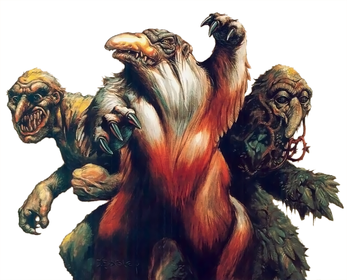 owl bear shambling mound Orso gufo, cumulo strisciante e troll - by Jeff Easley Combat Shield & Mini-Adventure (1984-12) © Wizards of the Coast & Hasbro
