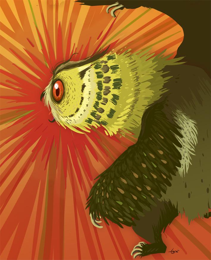 owl bear fanart Orso gufo, illustrazione non ufficiale - by Tara Helfer www.dungeonsanddrawings.blogspot.it (2010-11) © dell'autore, Wizards of the Coast & Hasbro