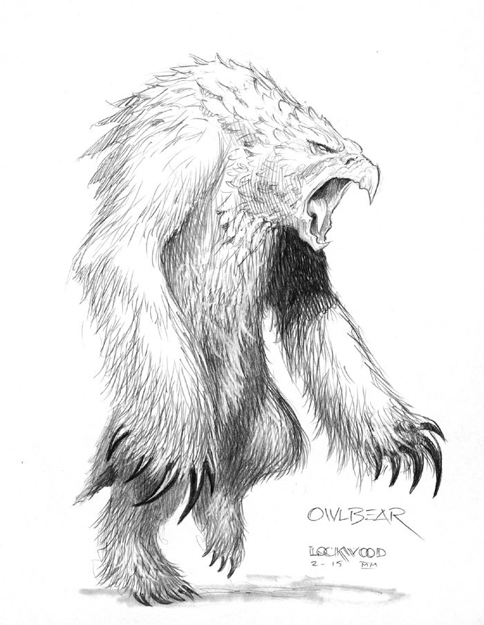 owl bear sketch Disegno preparatorio per orso gufo - by Todd Lockwood Monster Manual (2003) © Wizards of the Coast & Hasbro