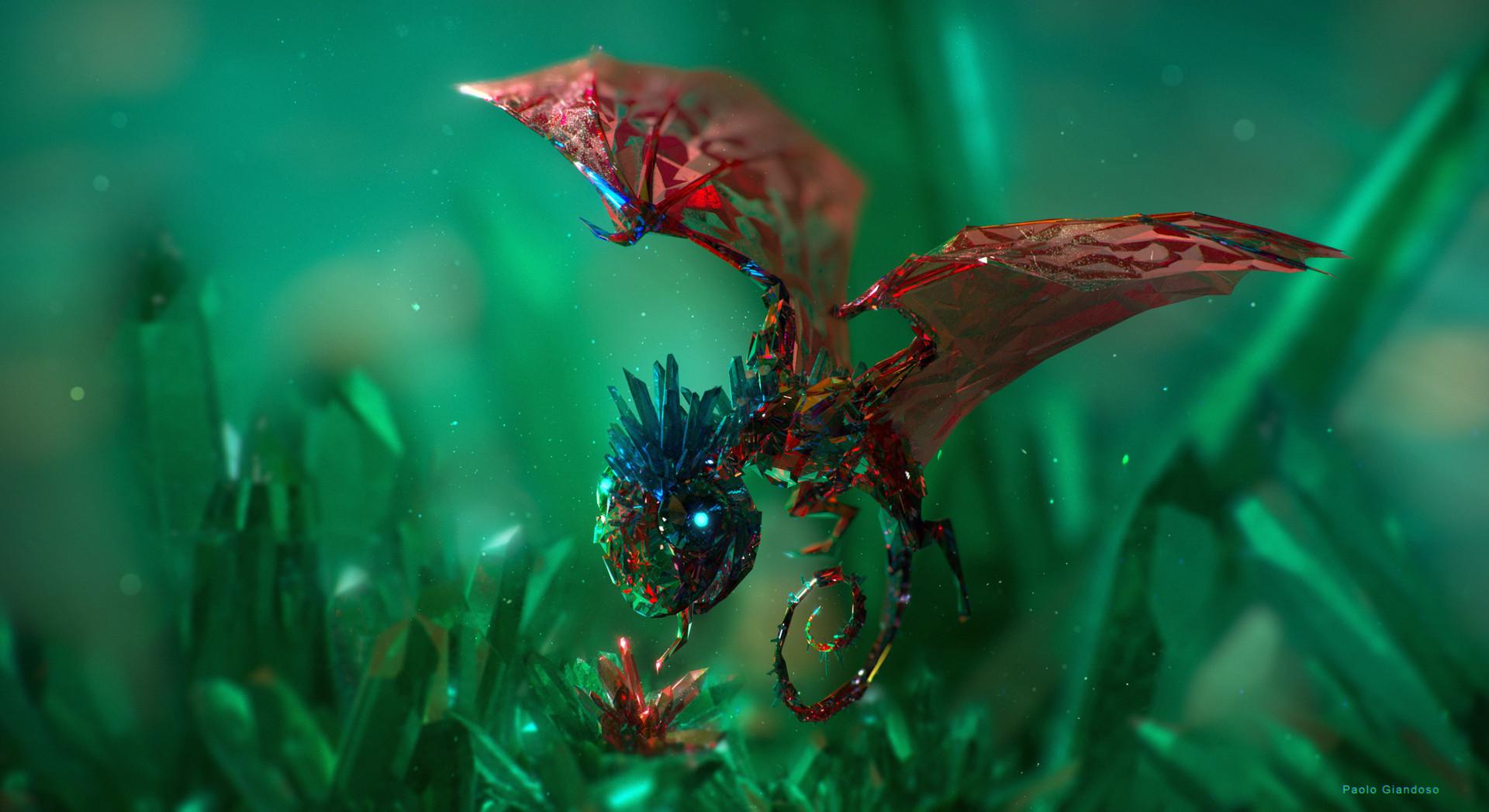 """giandoso gem eater 3d """"Gem Eater"""",un piccolo drago di cristallo sul Piano Elementale del Minerale-Verde e Rosso - by Paolo Giandoso www.artstation.com (12-2015) © dell'autore tutti i diritti riservati"""
