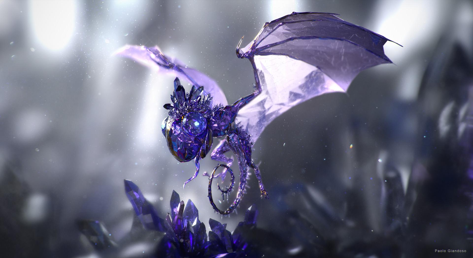 """giandoso gem eater 3d """"Gem Eater"""",un piccolo drago di cristallo sul Piano Elementale del Minerale-Porpora prova 1 - by Paolo Giandoso www.artstation.com (12-2015) © dell'autore tutti i diritti riservati"""