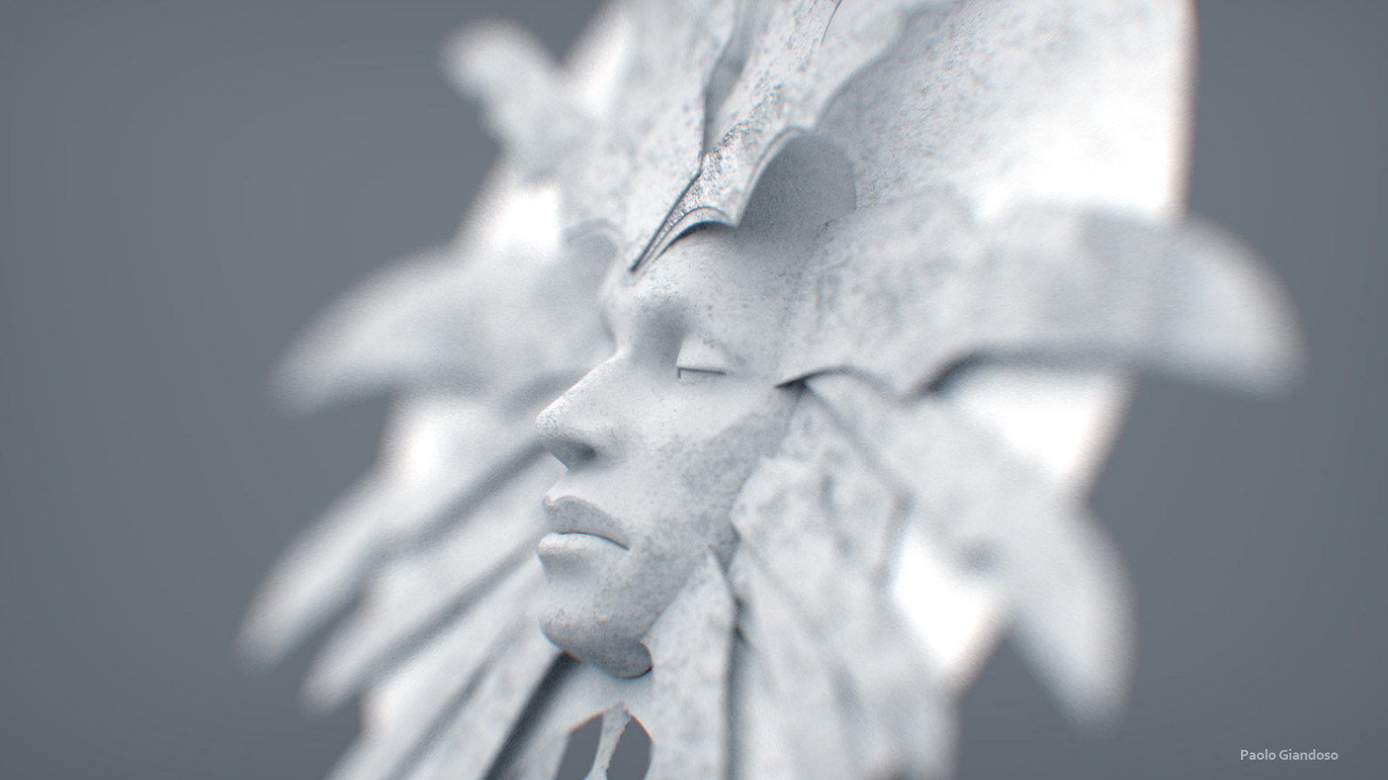 """giandoso lady of pain WIP """"Her Serenity"""", dettagli del Work in Progress, volto - by Paolo Giandoso www.artstation.com (01-2016) © dell'autore tutti i diritti riservati"""