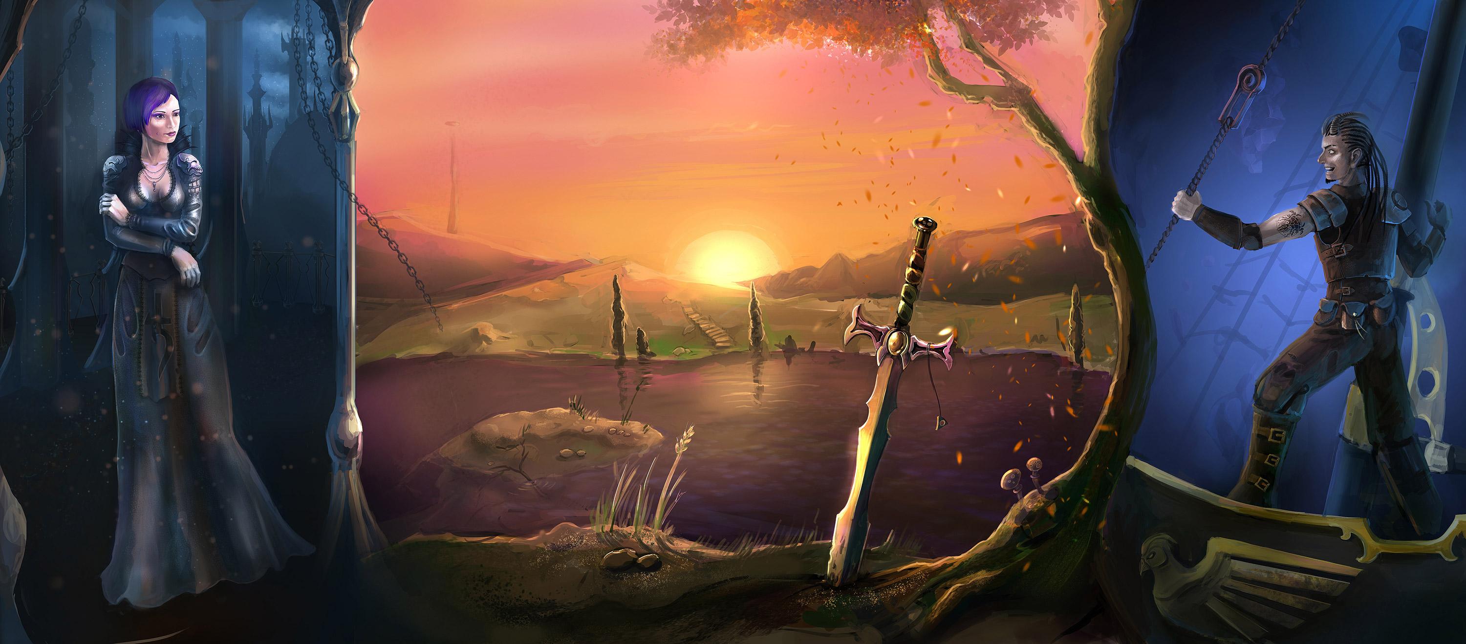 """ronamis """"By The Sword - Triptych"""" in ordine da sinistra: le sale dell'**Obitorio**, le rive di **Tir fo Thuinn** e un **vascello Astrale** Doomguard - by ronamis (Michael Malkin) ronamis.deviantart.com (2012) © dell'autore tutti i diritti riservati"""