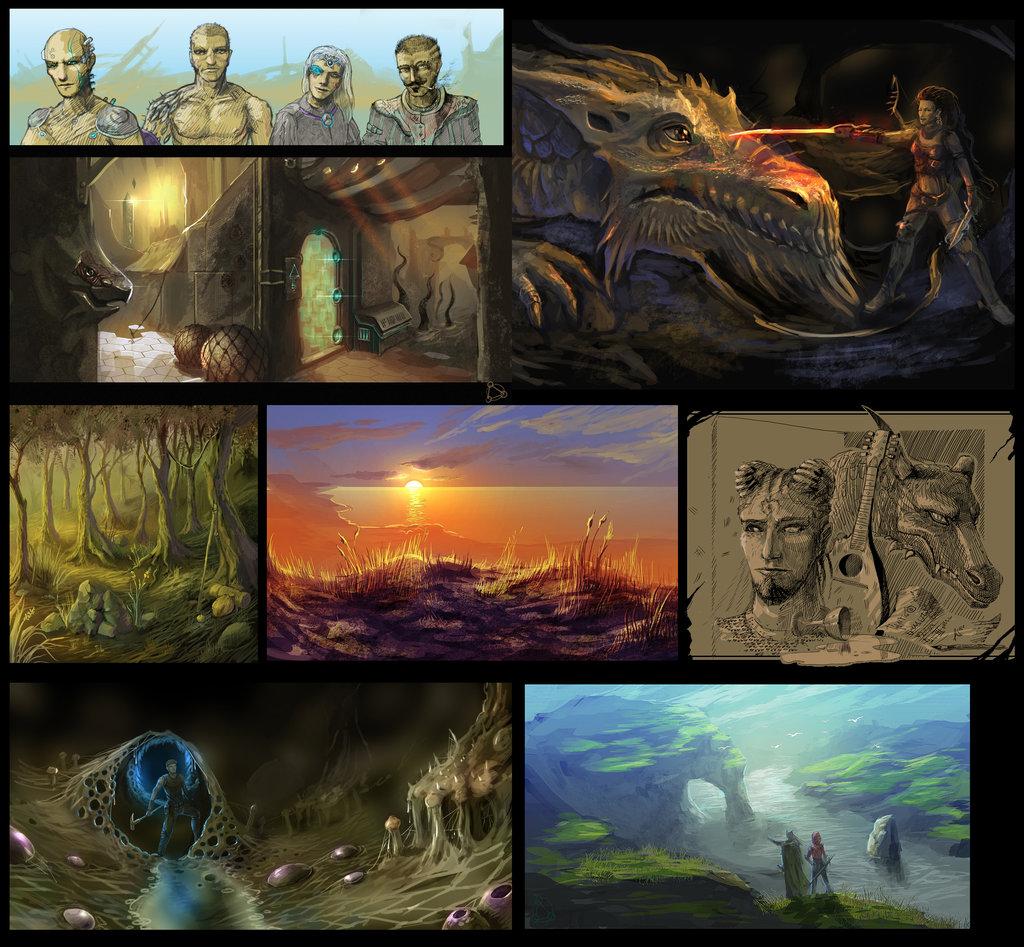 """ronamis """"Sketch Reel Time"""", in particolare: Factol Pentar che ammaestra un Drago della Ruggine (alto dx), Shedaklah nell'Abisso (basso sx), il fiume Oceanus (basso dx) - by ronamis (Michael Malkin) ronamis.deviantart.com (2014) © dell'autore tutti i diritti riservati"""