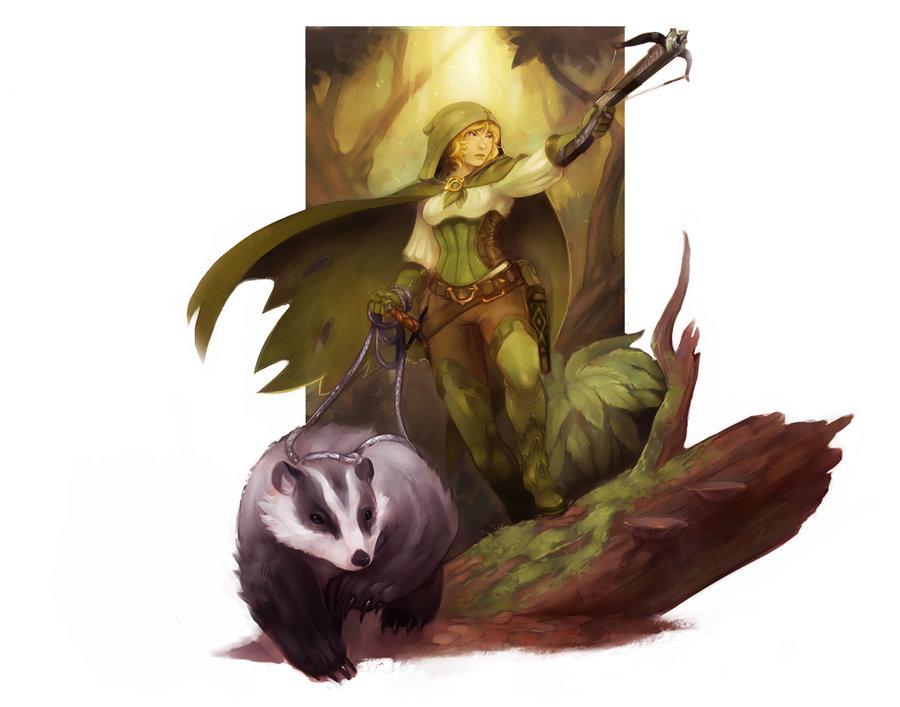 "stephen-wood ""Halfling Hunter"" con tasso - by Stephen Wood wood-illustration.deviantart.com (2012) © dell'autore, tutti i diritti riservati"