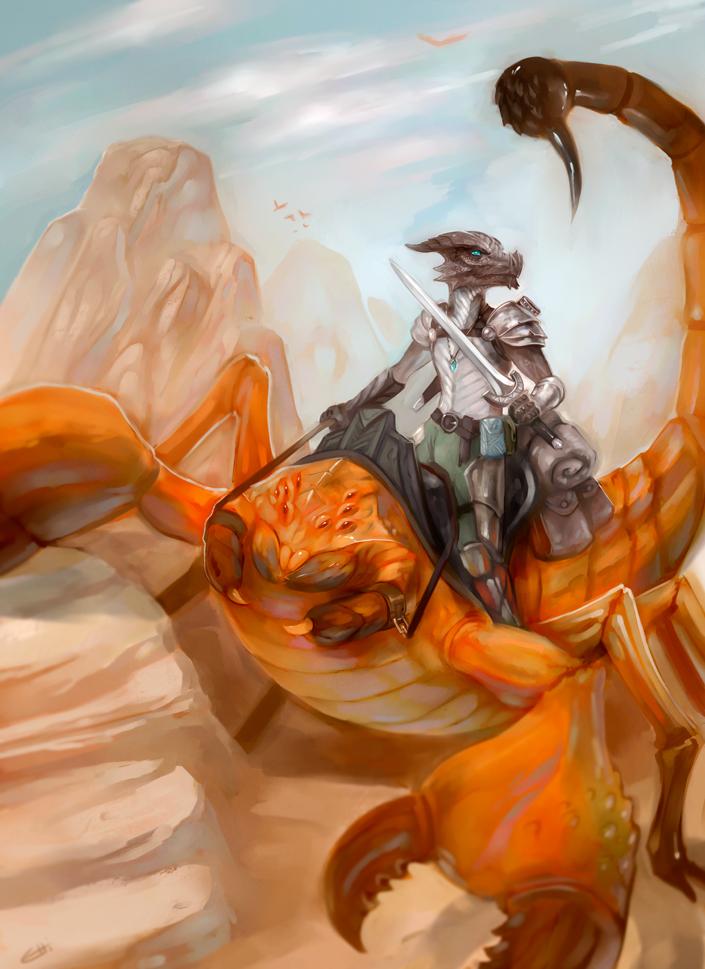 "stephen-wood ""Kobold Dragon Knight"" su scorpione gigante, commissione - by Stephen Wood wood-illustration.deviantart.com (2014) © dell'autore, tutti i diritti riservati"