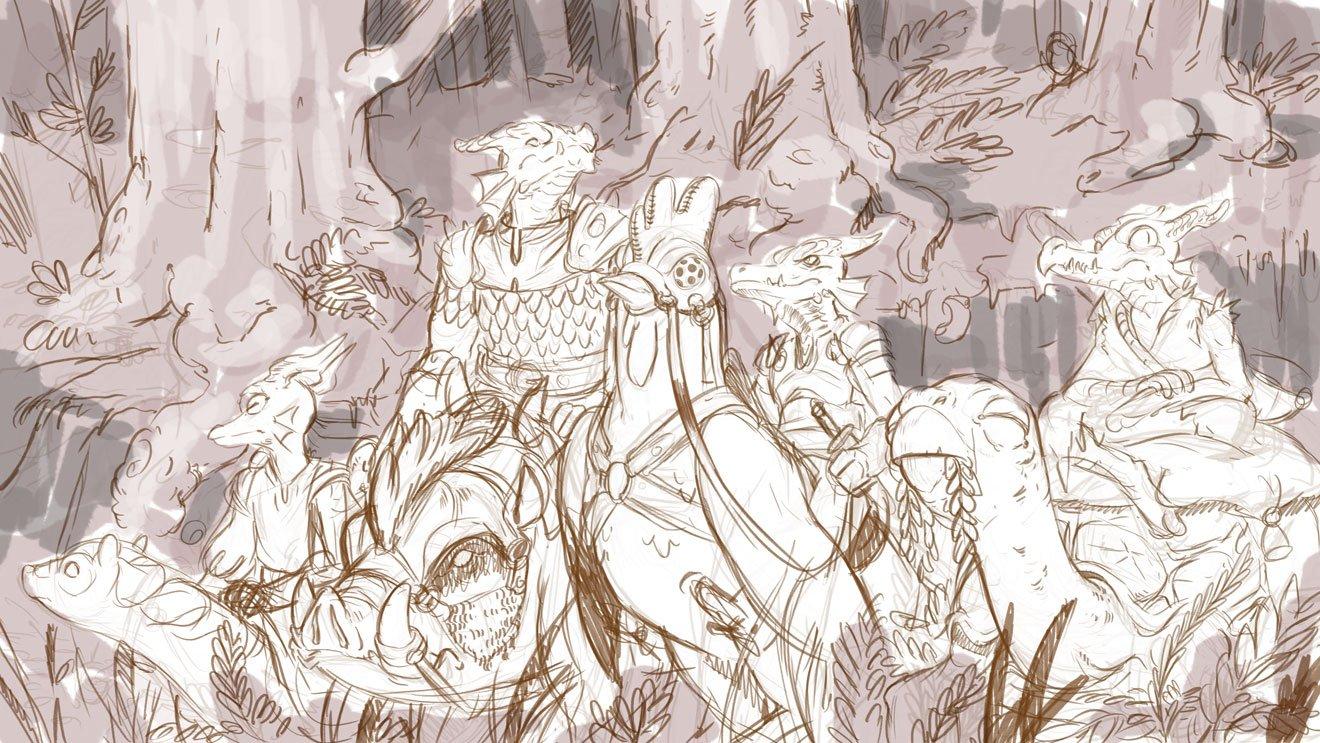 stephen-wood Kobolds adventure, schizzo per illustrazione - by Stephen Wood twitter.com/stevethegoblin (2017-09) © dell'autore, tutti i diritti riservati