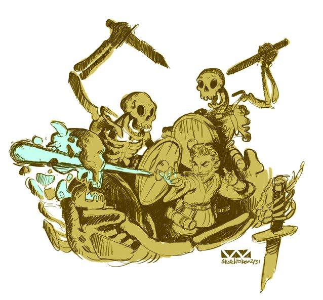stephen-wood Sketchtober, skeletri e gnomo sketch - by Stephen Wood twitter.com/stevethegoblin (2017-10) © dell'autore, tutti i diritti riservati