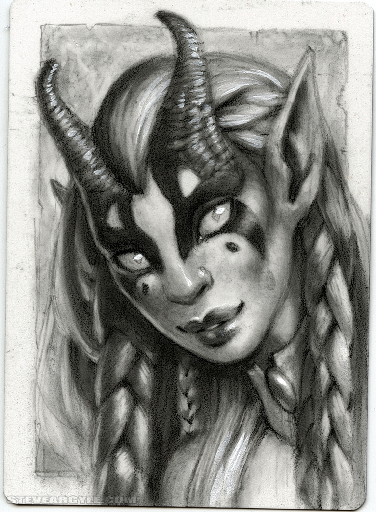 "Steve Argyle ""Planetouched"" tiefling, Artist Proof Black Thumb Sketch - by Steve Argyle steveargyle.tumblr.com (2015-10) © dell'autore tutti i diritti riservati"