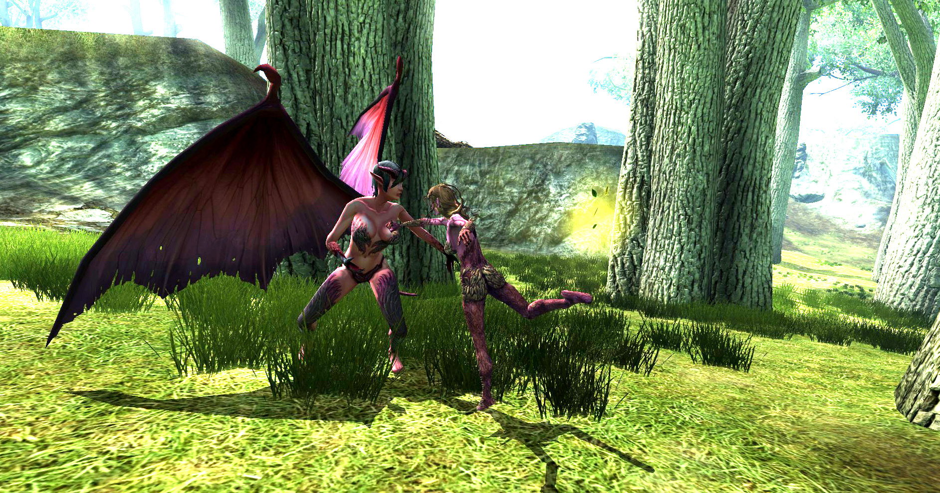 succubus dryad Succube vs. driade, screenshot Videogame: Dungeons & Dragons Online, Stormreach (2006-2011) © Atari, Wizards of the Coast e Hasbro