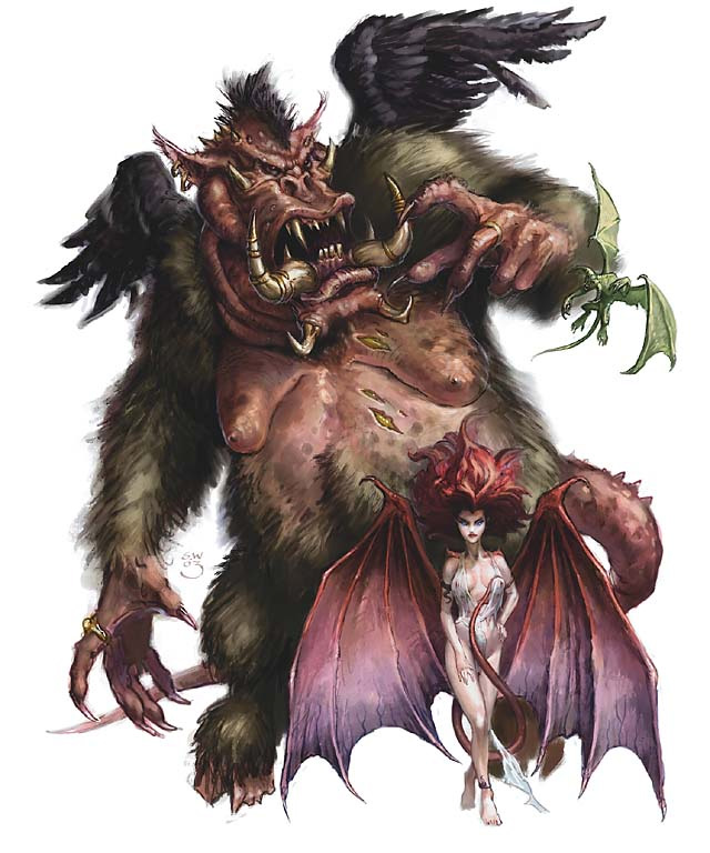 succubus Nalfeshnee, succube e quasit - by Sam Wood Monster Manual v3.5 (2003-07) © Wizards of the Coast e Hasbro