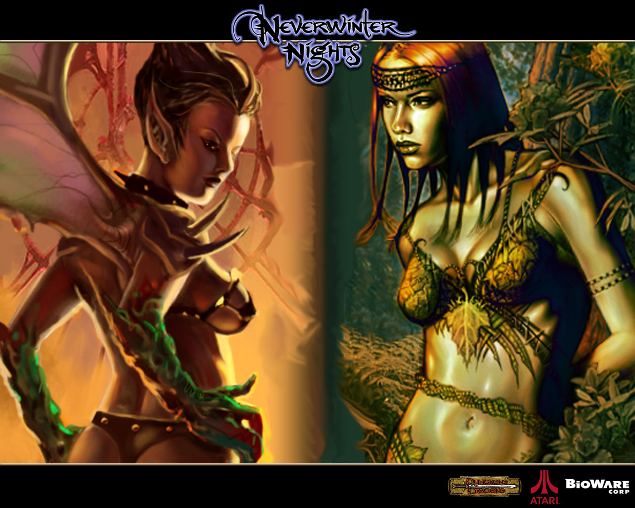 succubus dryad Succube e driade, portrait di gioco Videogame: NeverWinter Nights (2002-12) © Interplay, Wizards of the Coast e Hasbro