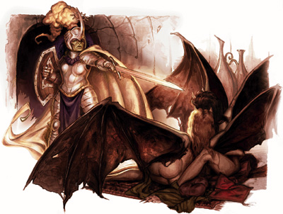 succubus Succubi e paladina - by Matt Cavotta Book of Exalted Deeds (2003-10) © Wizards of the Coast e Hasbro