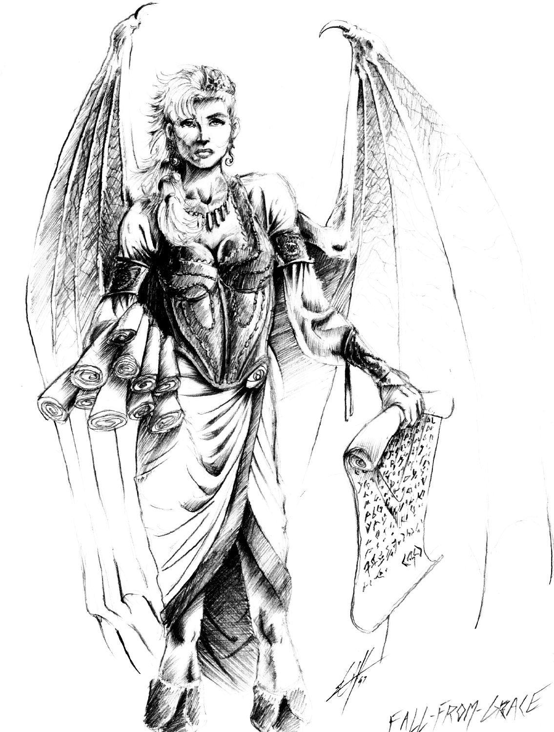 fall from grace succubus sketch Schizzo prepatatorio per Fall From Grace dei Sensisti Planescape: Torment (1999-12) © Black Isle, Wizards of the Coast e Hasbro