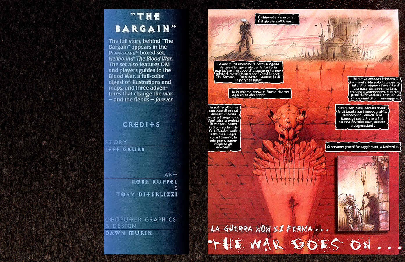Planescape Hellbound graphic novel the bargain ita italiano by diterlizzi and ruppel, abyss cambion zaxarus vrock