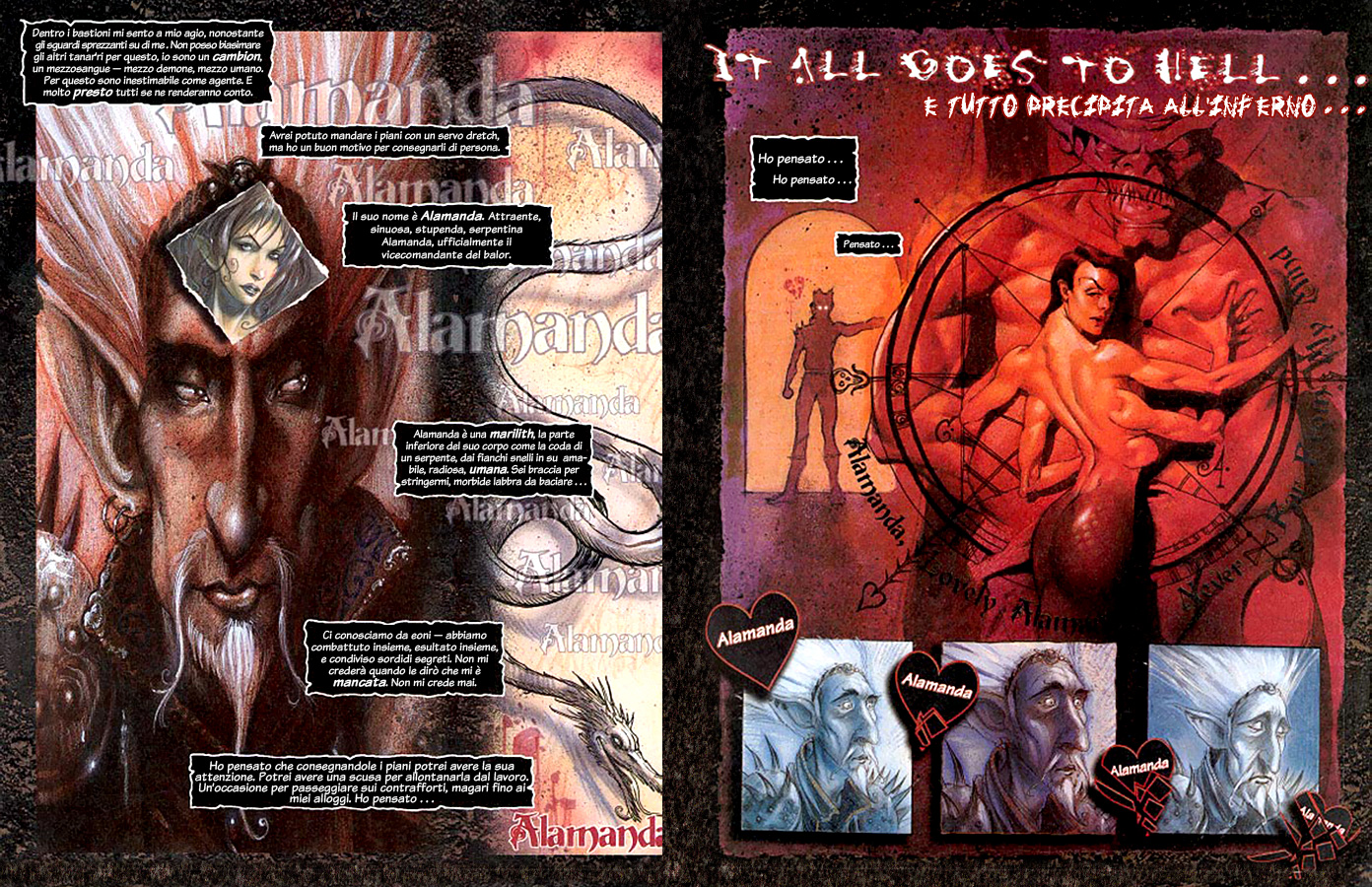 Planescape Hellbound graphic novel the bargain ita italiano by diterlizzi and ruppel, abyss cambion zaxarus balor alamanda marilith