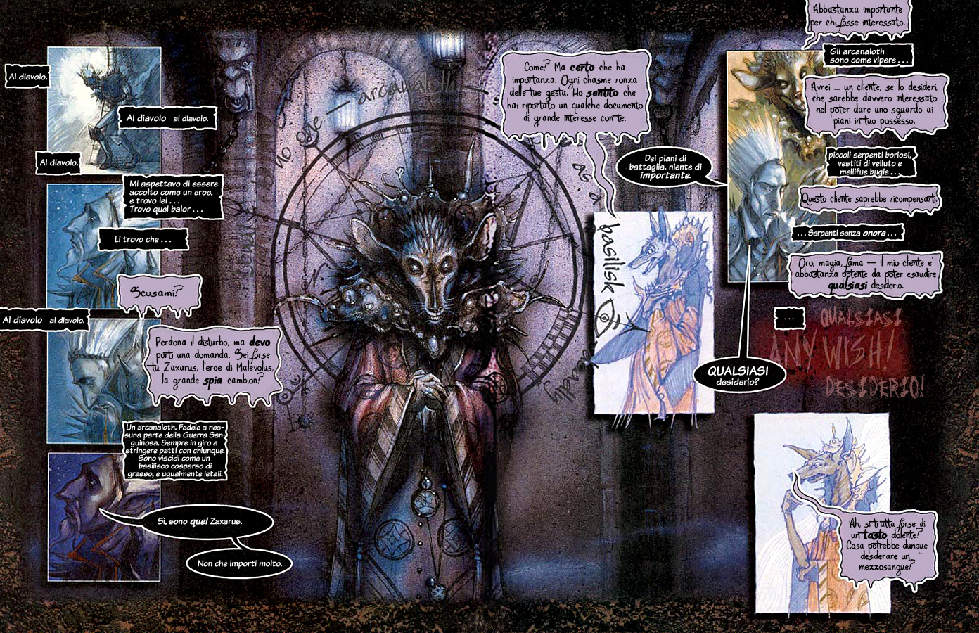 Planescape Hellbound graphic novel the bargain ita italiano by diterlizzi and ruppel, abyss cambion zaxarus arcanaloth