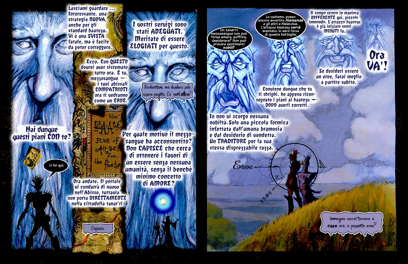 Planescape Hellbound graphic novel the bargain ita italiano by diterlizzi and ruppel, abyss cambion zaxarus aasimon light arcanaloth