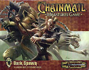 planetouched Gnoll guerriero tiefling combattente e howler, illustrazione per blister di miniature Chainmail Miniatures, Dark Spawn (2000) © Wizards of the Coast & Hasbro