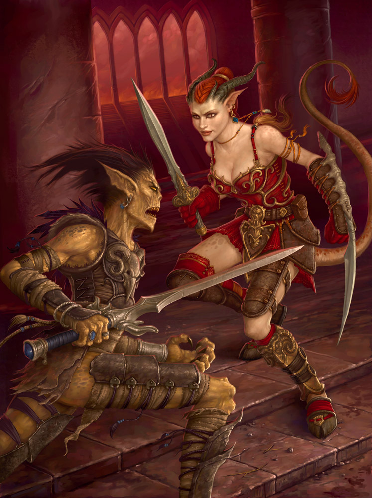 "planetouched d&d ""Into the Depths"", Tiefling e githyanki in copertina - by Howard Lyon Dungeon Magazine #125 (2005-08) © Wizards of the Coast & Hasbro"
