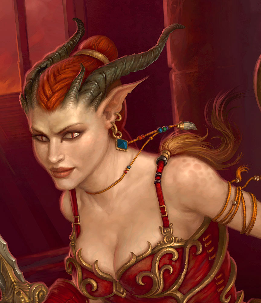 "detail d&d ""Into the Depths"", Tiefling (particolare) - by Howard Lyon Dungeon Magazine #125 (2005-08) © Wizards of the Coast & Hasbro"