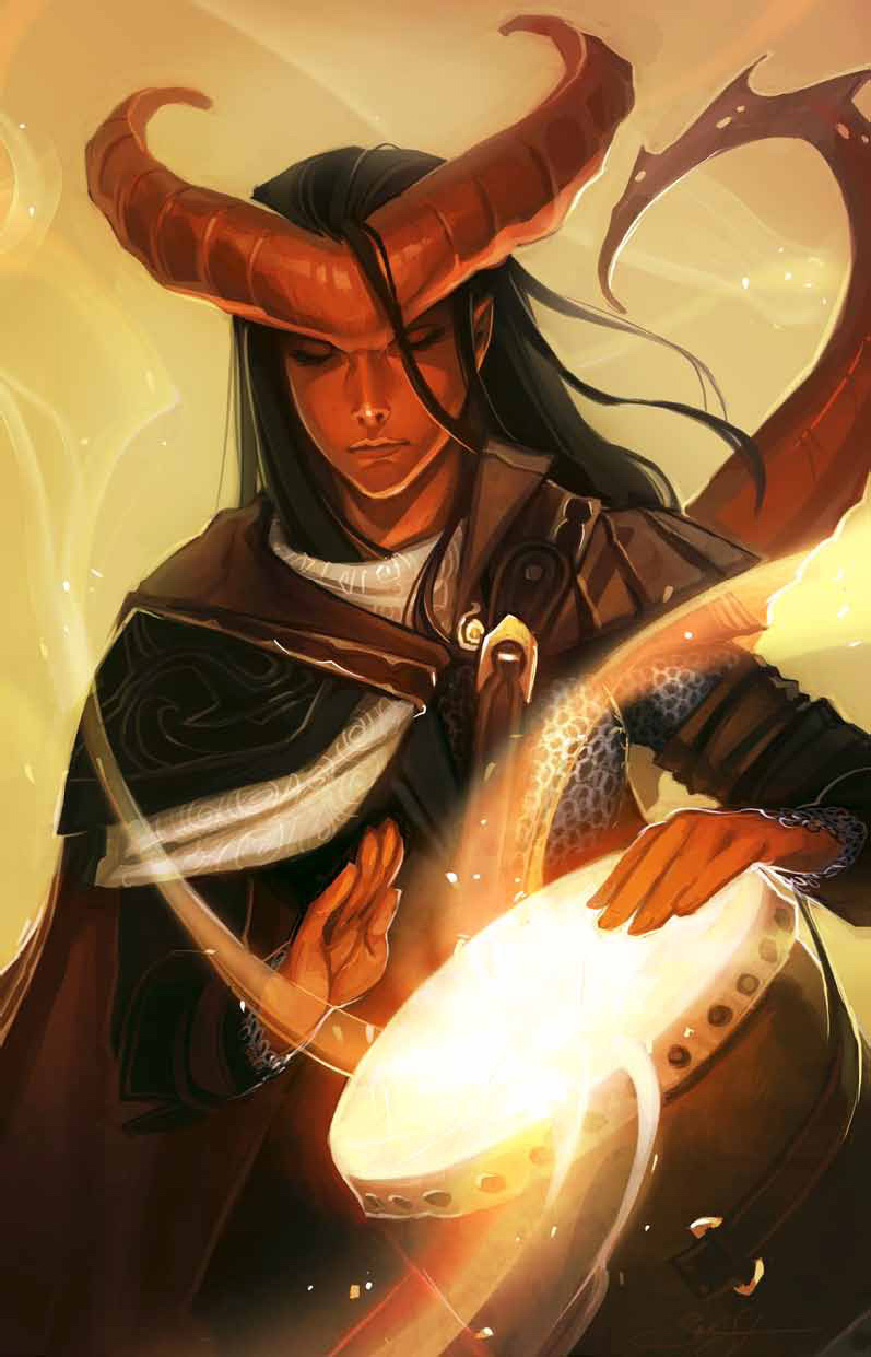 skeleton tiefling bardo - by Sarah Stone e William O'Connor Dragon Magazine #383 (2010-01) © Wizards of the Coast & Hasbro