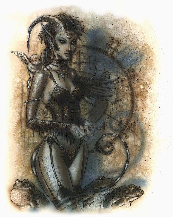 "{$tags} Tiefling - by Tony Diterlizzi TSR - ""WIZARDS I HAVE KNOWN"", limited edition sketchbook (1995) © Wizards of the Coast & Hasbro"