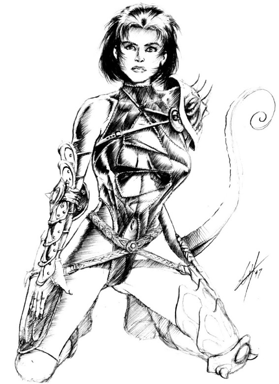 tiefling sketch Schizzo preparatorio per Annah Planescape Torment (1999) © Black Isle, Wizards of the Coast & Hasbro