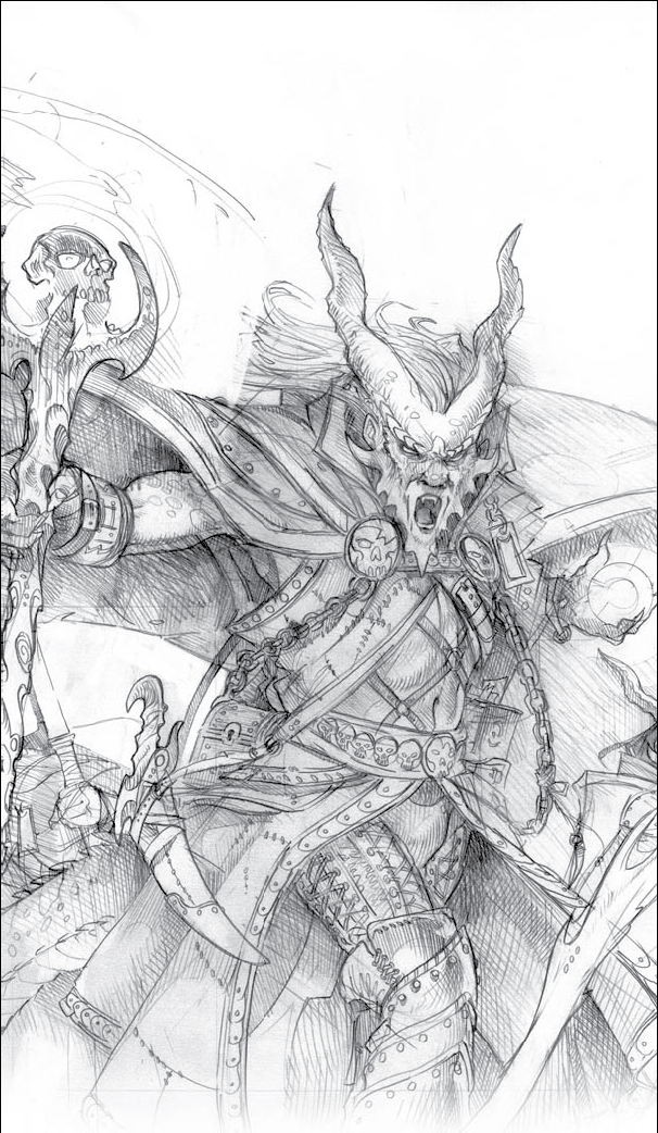 sketch Tiefling, schizzo Dragon Magazine #374 (2009-04) © Wizards of the Coast & Hasbro