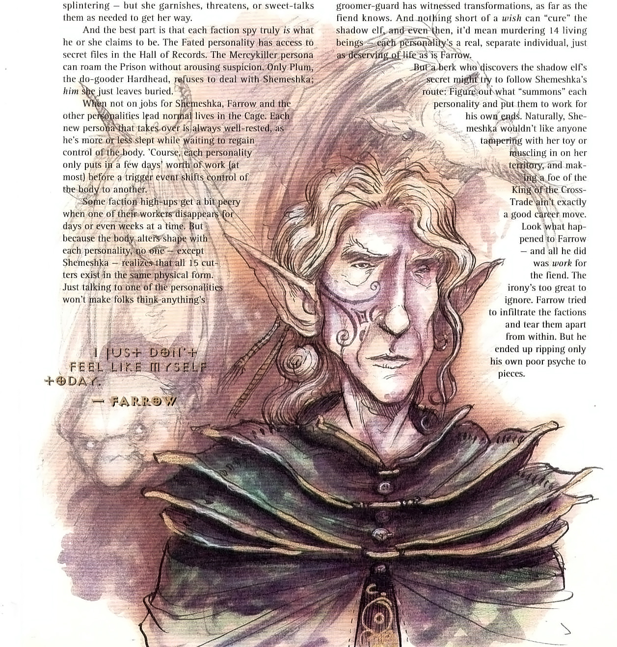 tiefling elf Farrow, di Sigil - una delle sue 15 personalità è una tiefling! - by Tony Diterlizzi TSR - Uncaged, Faces of Sigil (1996-03) © Wizards of the Coast & Hasbro