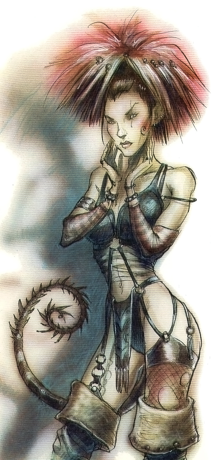 {$tags} Kylie la Tiefling - by Tony Diterlizzi TSR - Uncaged, Faces of Sigil (1996-03) © Wizards of the Coast & Hasbro