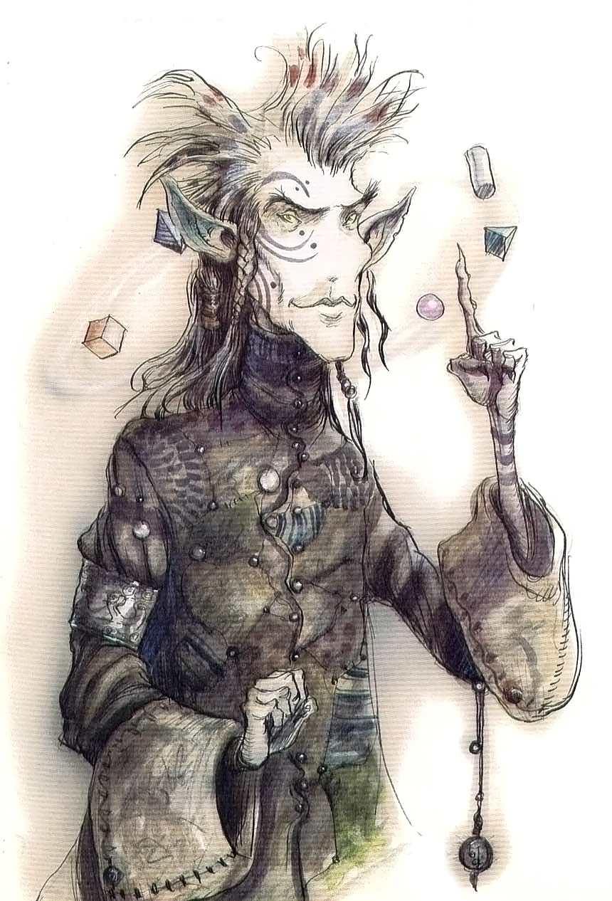 "{$tags} ""Sly"" Nye il Tiefling - by Tony Diterlizzi TSR - Uncaged, Faces of Sigil (1996-03) © Wizards of the Coast & Hasbro"