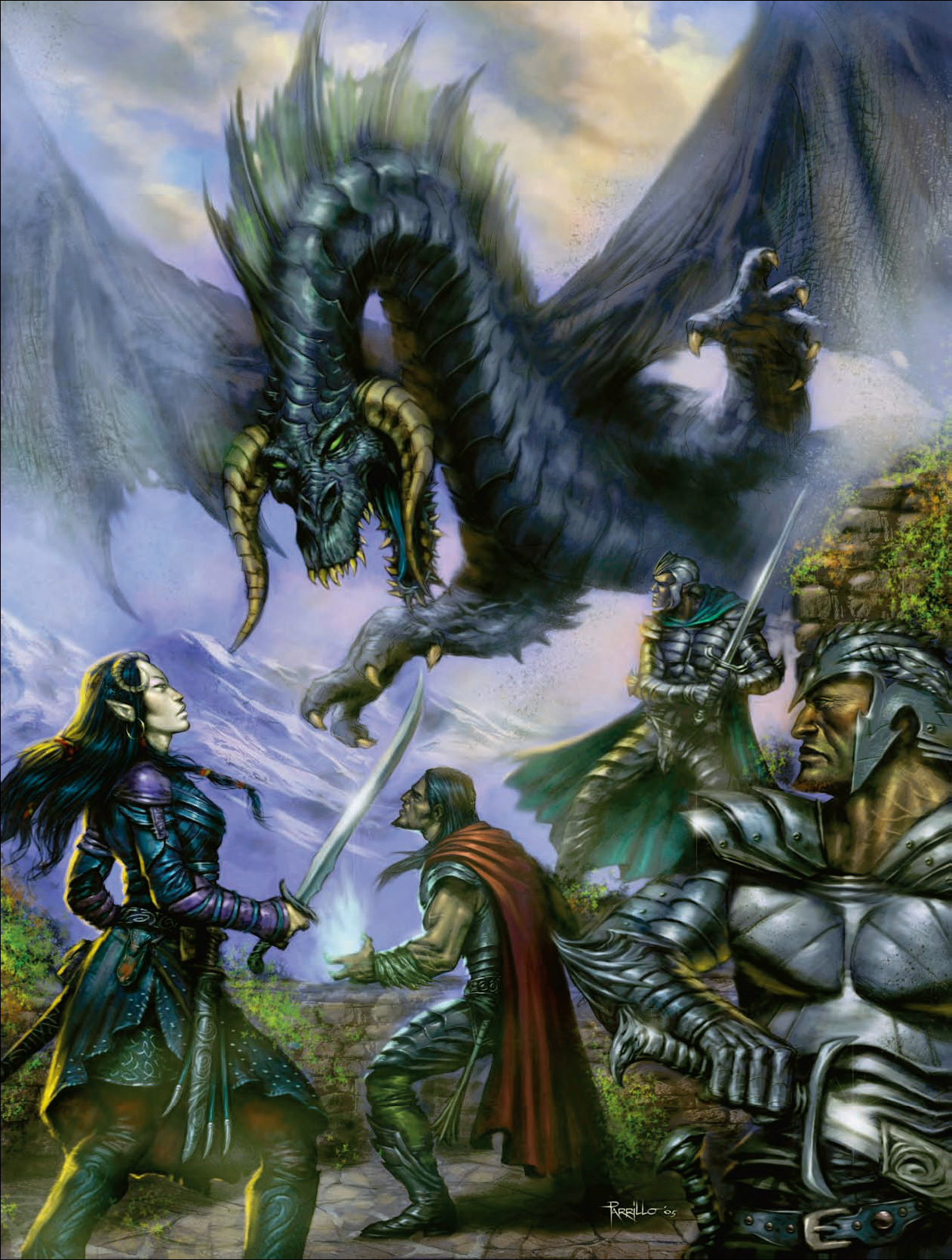 black dragon Tiefling e drago nero - by Lucio Parrillo Player's Handbook 2 (2006-05) © Wizards of the Coast & Hasbro