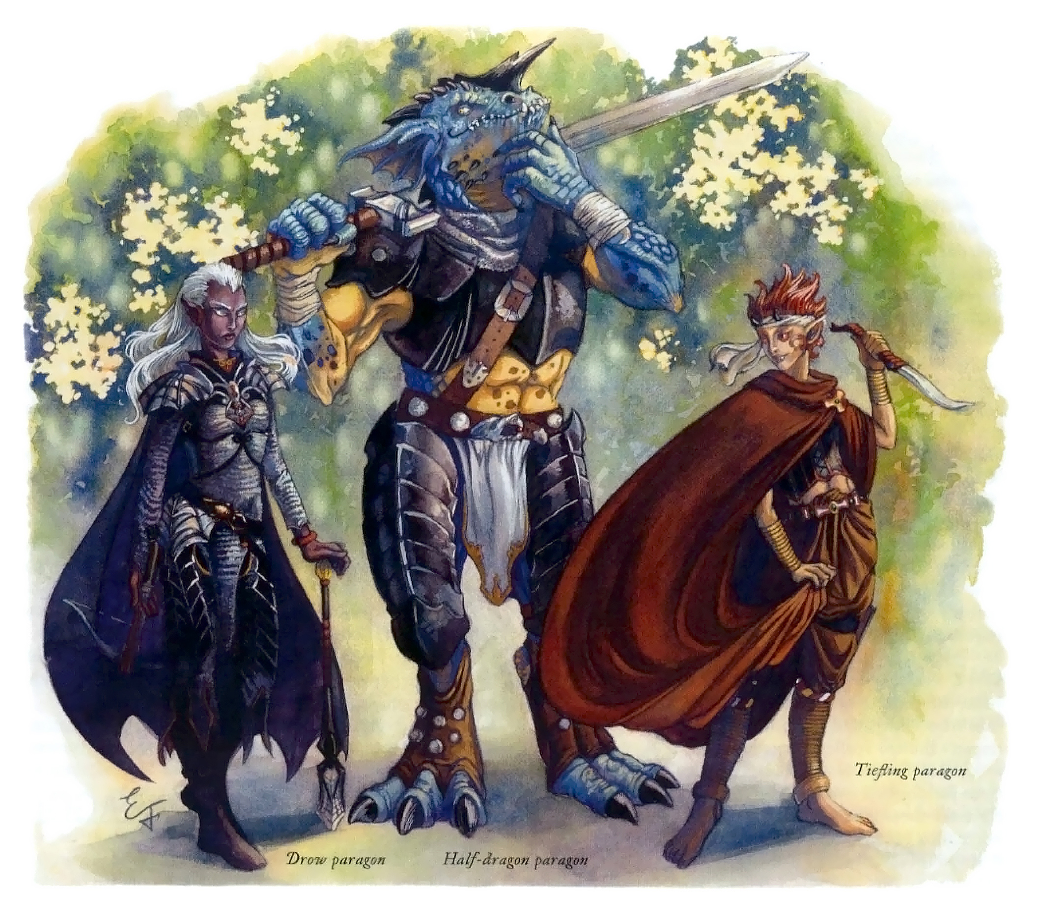 half-dragon Paragoni: drow, mezzo-drago e tiefling - by Emily Fiegenschuh Unearthed Arcana (2004-02) © Wizards of the Coast & Hasbro