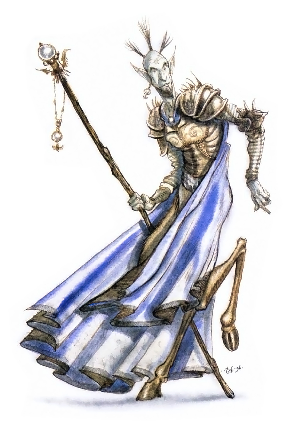 planescape Chierico Tiefling - by Tony Diterlizzi TSR - The Planewalker's Handbook (1996-08) © Wizards of the Coast & Hasbro