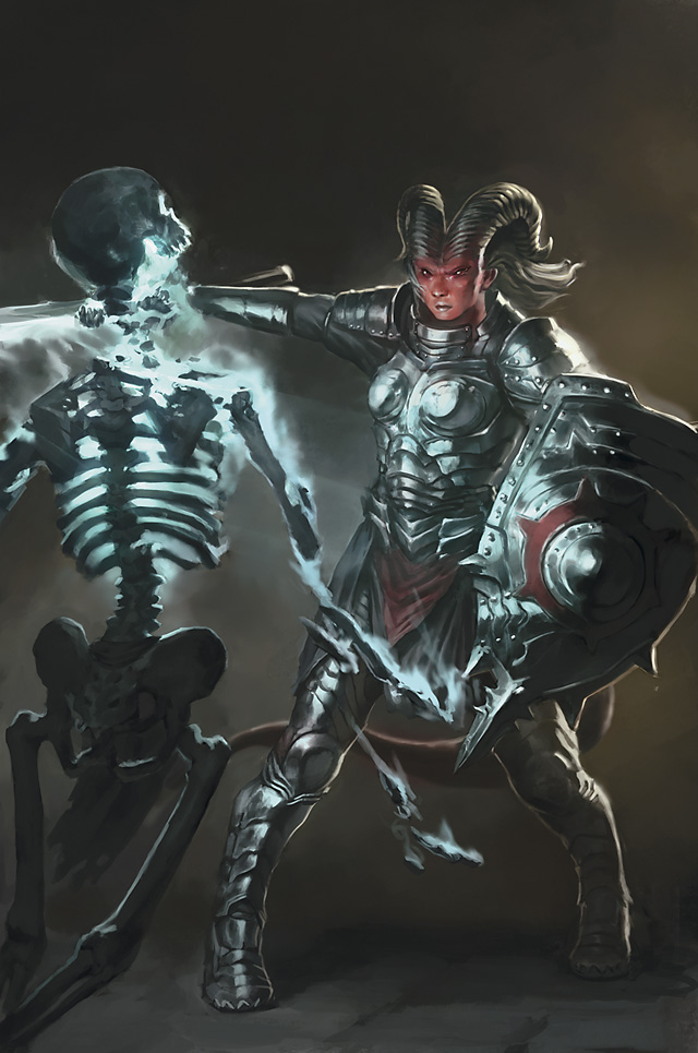 skeleton Paladino tiefling e scheletro - by Matias Tapia Divine Power (2009-07) © Wizards of the Coast & Hasbro