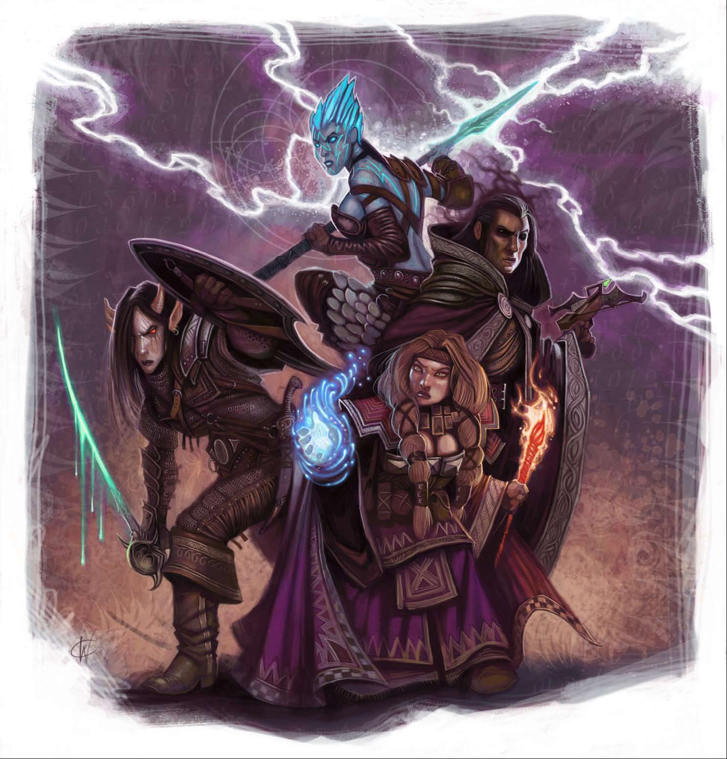 dwarf Tiefling, genasi, nana, party di avventurieri - by William O'Connor Dragon Magazine #372 (2009-02) © Wizards of the Coast & Hasbro