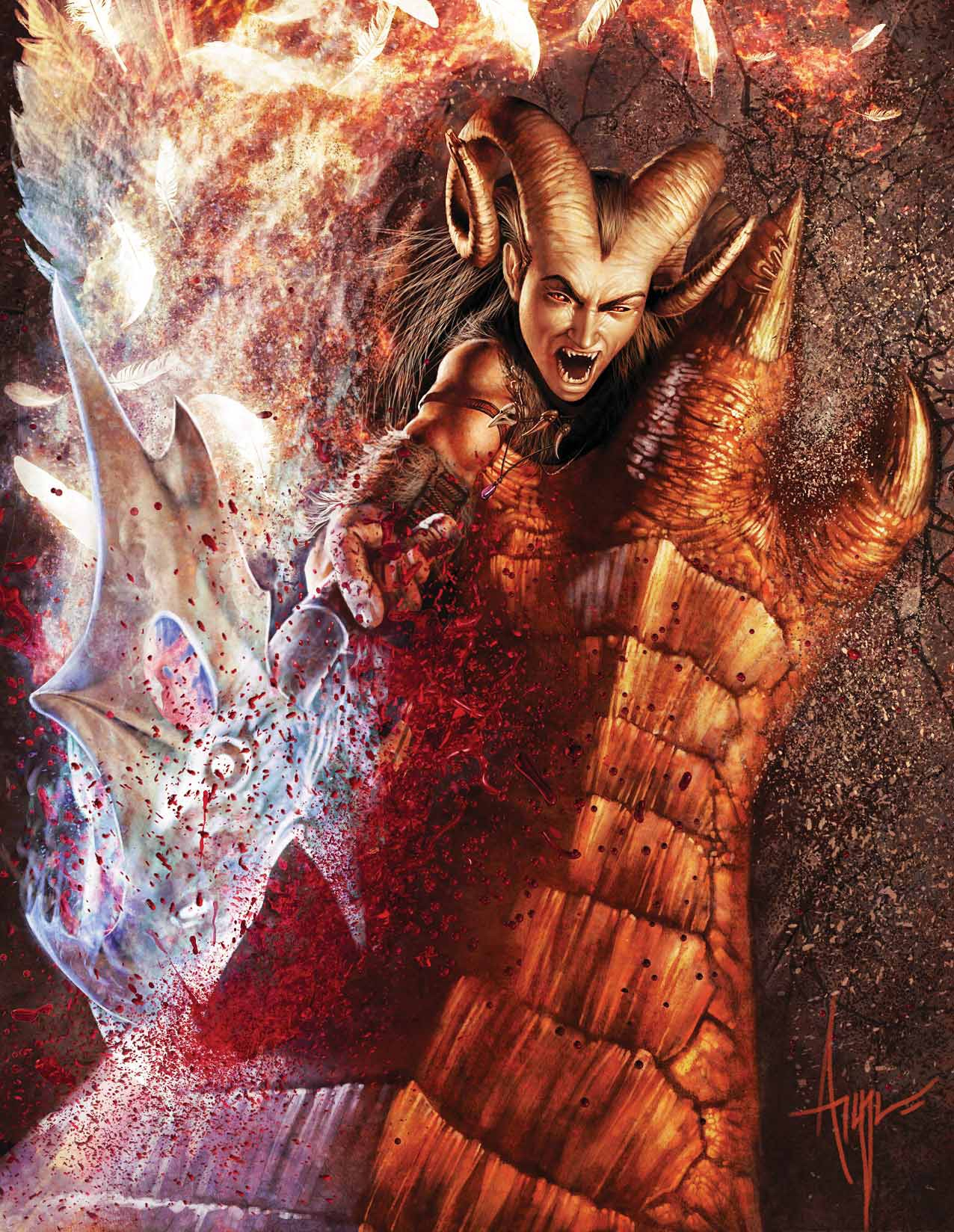 barbarian red dragon Tiefling barbaro alle prese con un drago rosso - by Steve Argyle Dragon Magazine #368 (2008-10) © Wizards of the Coast & Hasbro