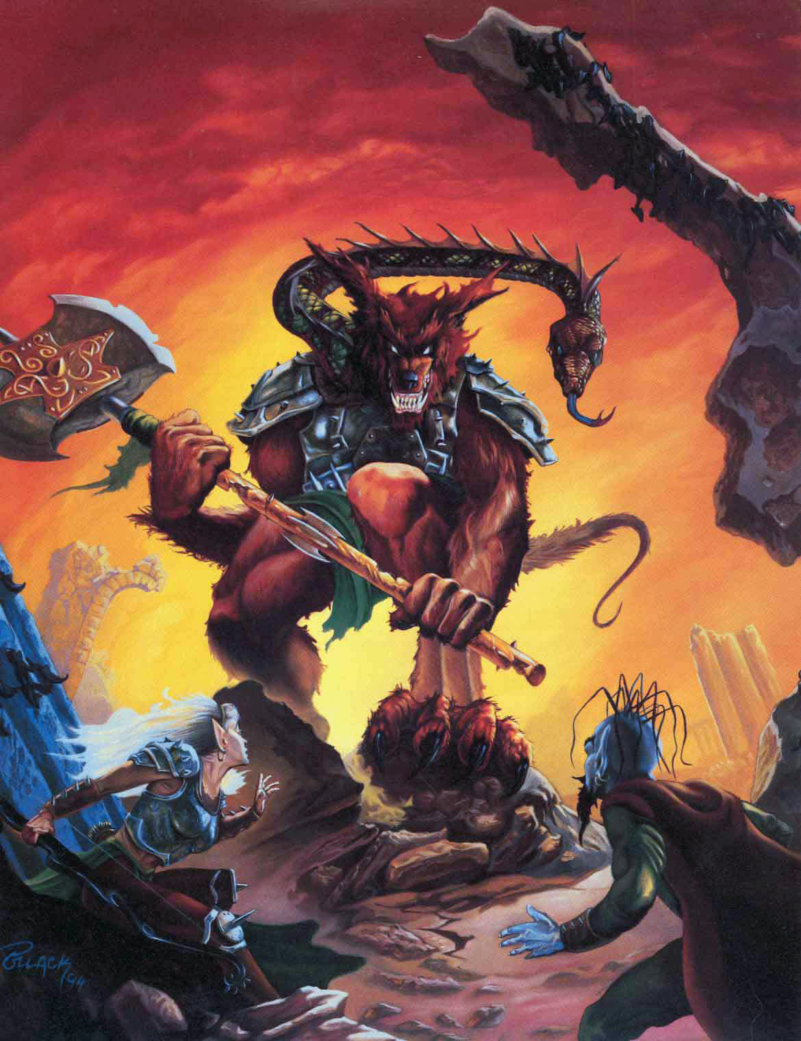 abyss tanar'ri Tiefling alle prese con un molydeus nell'Abisso - by Alan Pollack TSR - In The Abyss (1994-11) © Wizards of the Coast & Hasbro