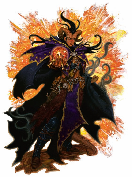 warlock Tiefling stregone - by Chris Seaman Adventurer's Vault (2008-09) © Wizards of the Coast & Hasbro