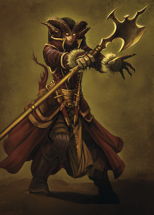 mage Tiefling arcanista - by Concept Art House Divine Power (2009-07) © Wizards of the Coast & Hasbro
