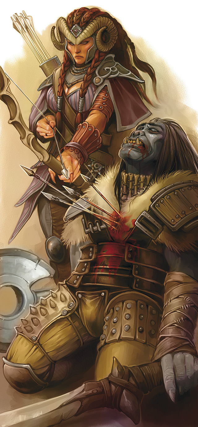 orc Tiefling arciere e orco - by Dave Allsop Martial Power 2 (2010-02) © Wizards of the Coast & Hasbro