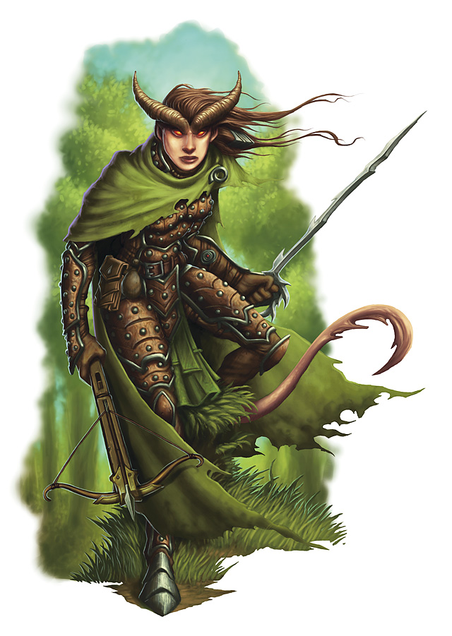 {$tags} Tiefling ranger - by Eva Widermann Martial Power 2 (2010-02) © Wizards of the Coast & Hasbro
