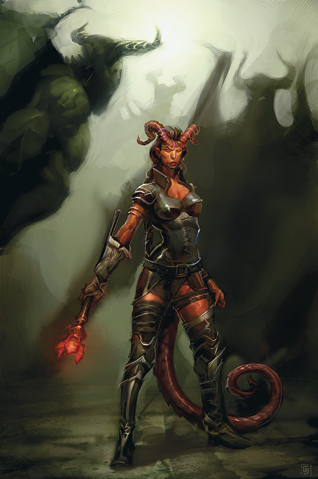 fiends Tiefling in mezzo a immondi - by Goran Josic Divine Power (2009-07) © Wizards of the Coast & Hasbro
